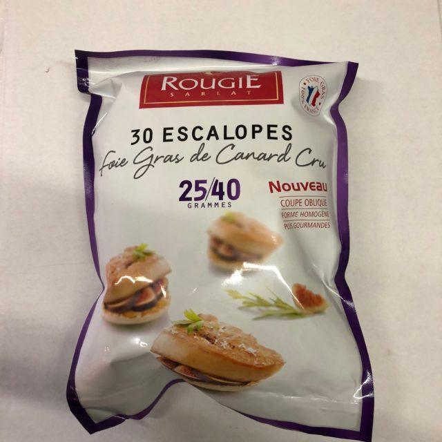 Escalope surgelée foie gras de canard cru Rougié calibre 25-40